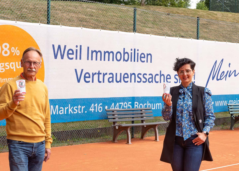 TC Rot Weiss Stiepel Übergabe der Werbemittel