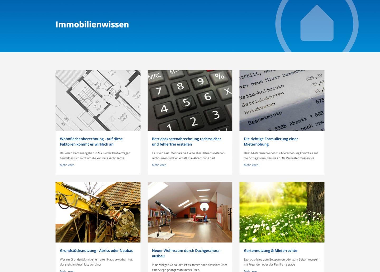 Screenshot der Seite Immobilienwissen