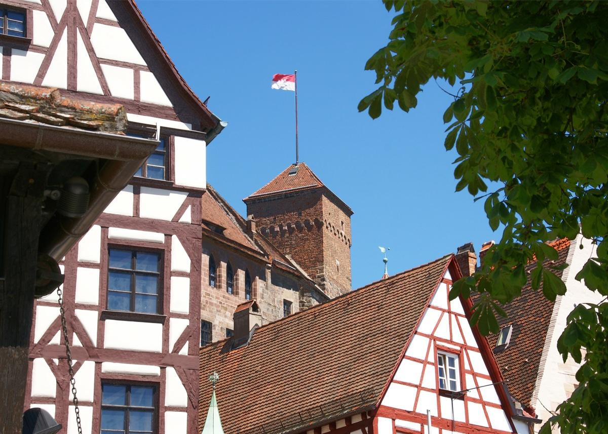 Nürnberg Altstadt, Burg, Kaiserburg und Fachwerkhäuser